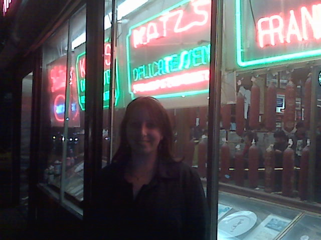 Traveler Nell in front of the Famous Katz's Deli